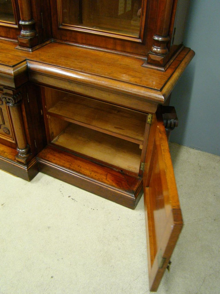 Victorian 2-Door Breakfront Mahogany Bookcase by Fras & Jas Smith, Glasgow For Sale 8