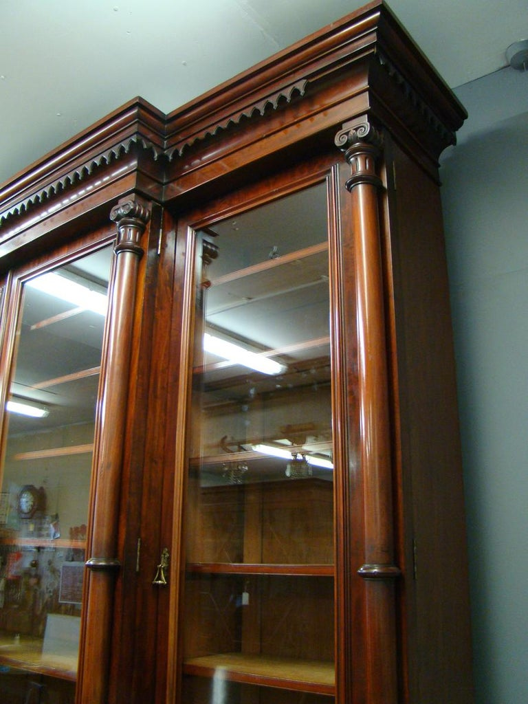 Victorian 2-Door Breakfront Mahogany Bookcase by Fras & Jas Smith, Glasgow For Sale 9