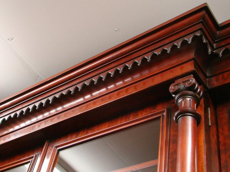 Victorian 2-Door Breakfront Mahogany Bookcase by Fras & Jas Smith, Glasgow For Sale 10