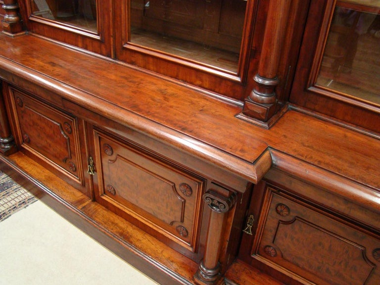 Victorian 2-Door Breakfront Mahogany Bookcase by Fras & Jas Smith, Glasgow In Good Condition For Sale In Edinburgh, GB