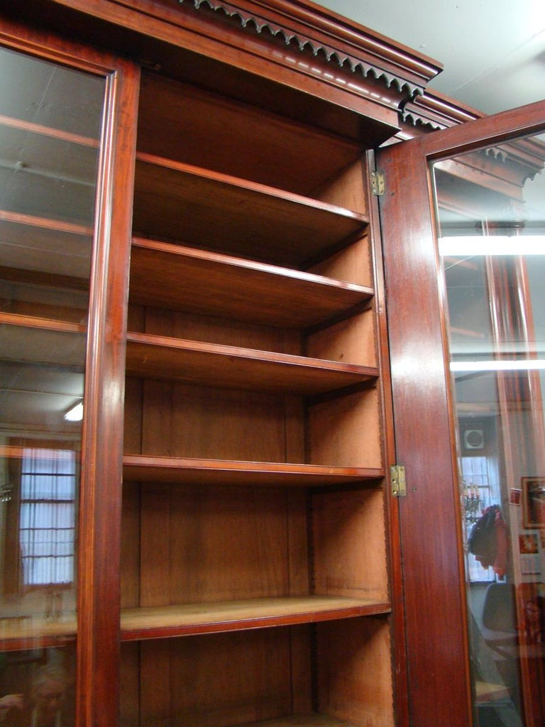 19th Century Victorian 2-Door Breakfront Mahogany Bookcase by Fras & Jas Smith, Glasgow For Sale