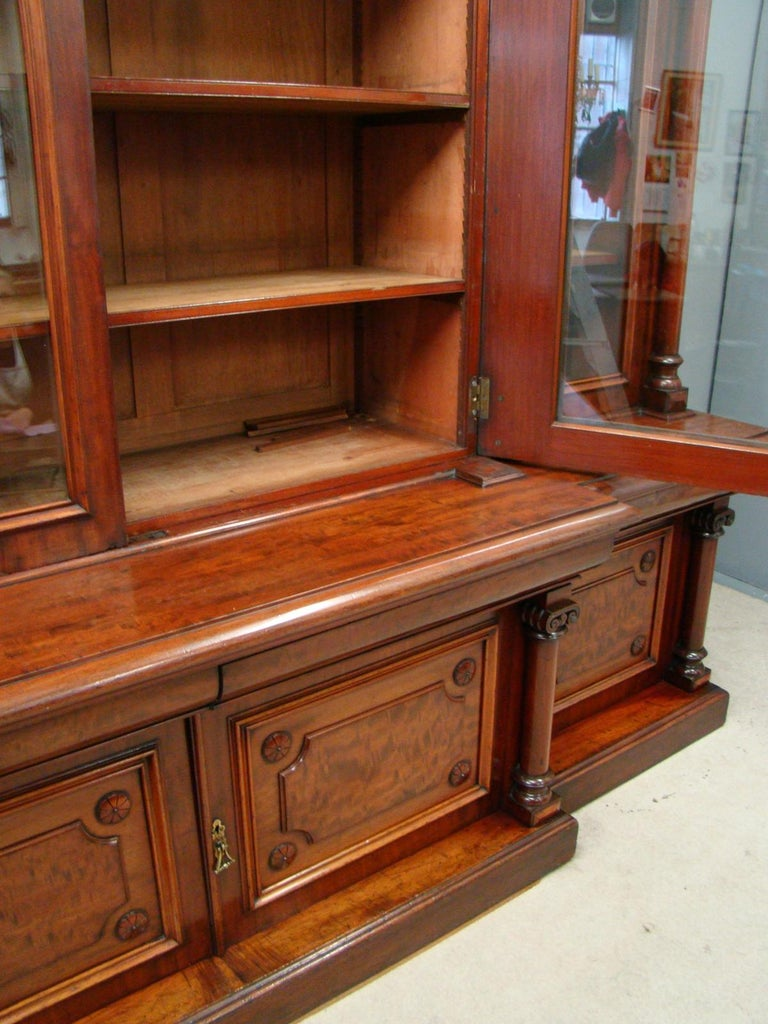 Victorian 2-Door Breakfront Mahogany Bookcase by Fras & Jas Smith, Glasgow For Sale 1