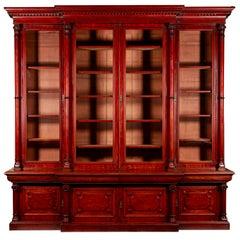 Victorian 2-Door Breakfront Mahogany Bookcase by Fras & Jas Smith, Glasgow