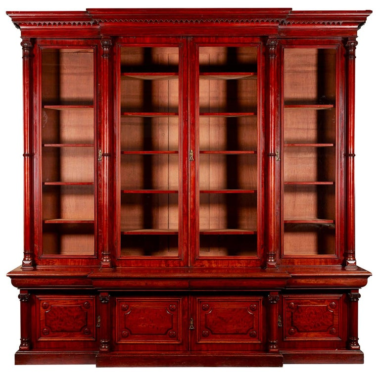 Victorian 2-Door Breakfront Mahogany Bookcase by Fras & Jas Smith, Glasgow For Sale