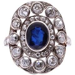 Victorian 2.00 Carat Old Cushion Cut Sapphire 14 Karat Gold Ring