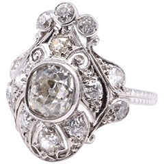 Victorian 2.00 Carat Old Mine Cut Diamond Platinum Ring