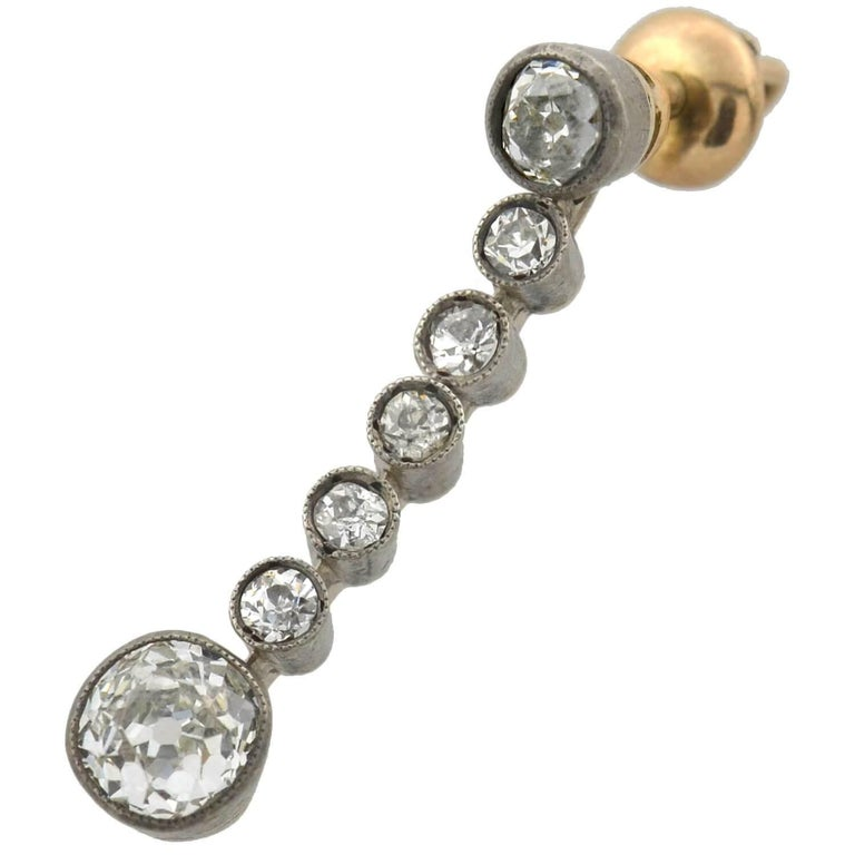 Victorian 2.00 Total Carat Diamond Drop Earrings In Good Condition For Sale In Narberth, PA
