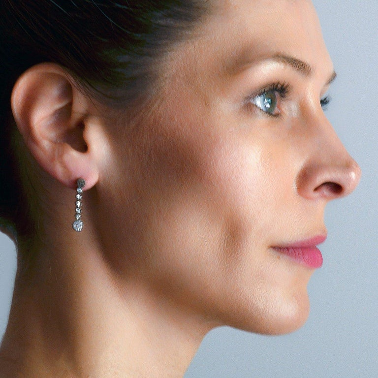 Victorian 2.00 Total Carat Diamond Drop Earrings For Sale 3
