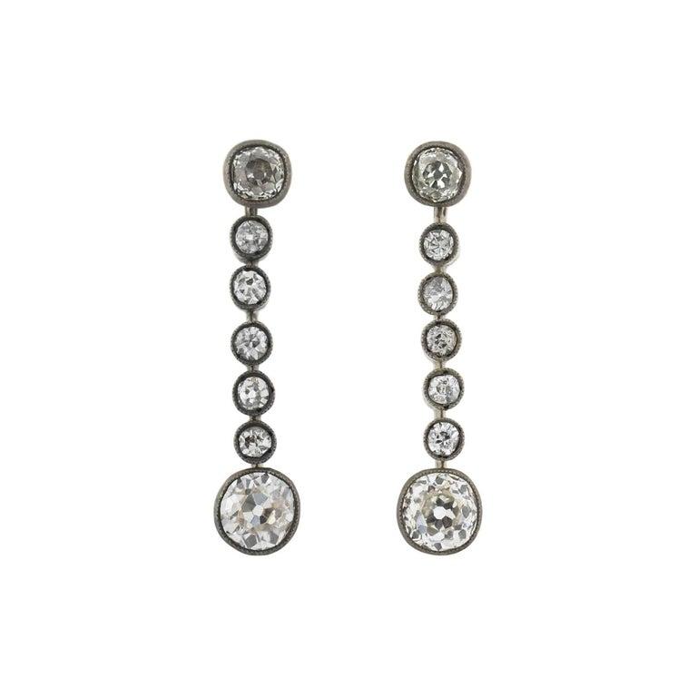 Victorian 2.00 Total Carat Diamond Drop Earrings For Sale