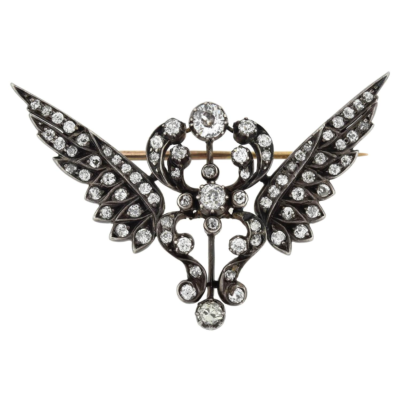 Victorian 2.00 Total Carat Diamond Wing Pin
