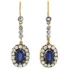Victorian 2.00 Total Carat Sapphire and Diamond Earrings