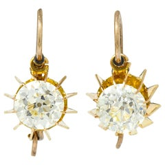 Victorian 2.04 Carat Old European Diamond Gold Articulated Drop Earrings