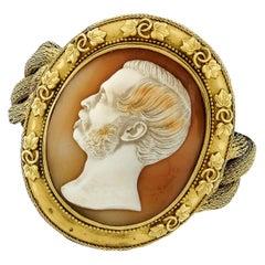 Victorian 21 Karat Gold Large Thomas Saulini Cameo Curb Mesh Link Bracelet