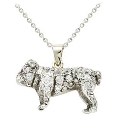Victorian 2.10 Carat Pave Diamond Silver-Topped Gold Bulldog Pendant Necklace