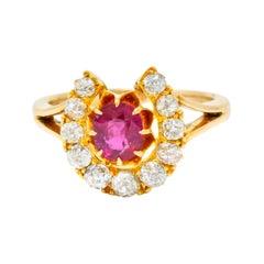 Victorian 2.10 Carat Ruby Diamond 15 Karat Gold Horseshoe Cluster Ring