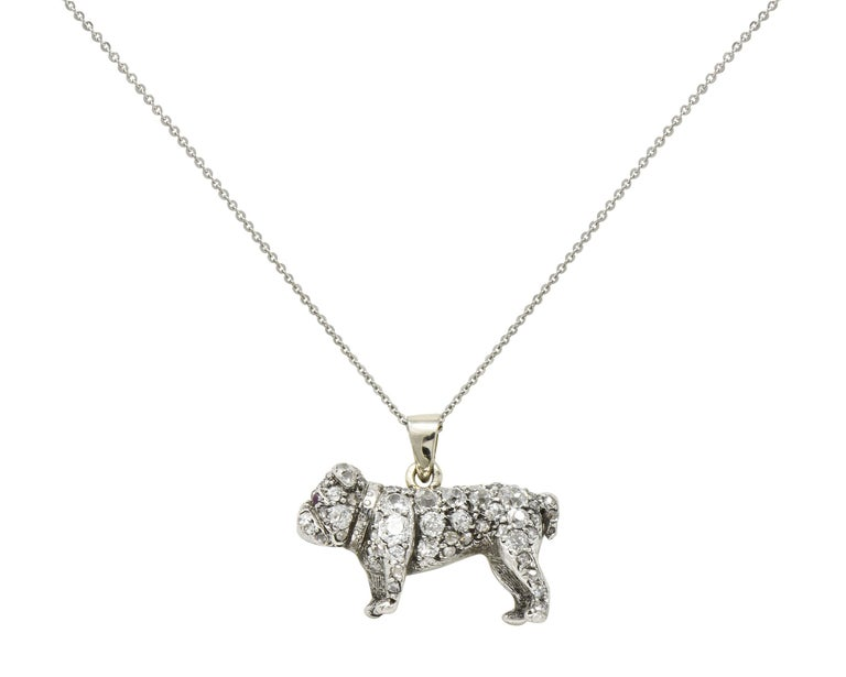 Victorian 2.10 Carat Pave Diamond Silver-Topped Gold Bulldog Pendant Necklace For Sale 6