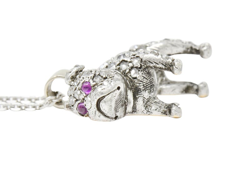 Victorian 2.10 Carat Pave Diamond Silver-Topped Gold Bulldog Pendant Necklace For Sale 9
