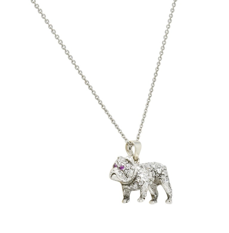 Rose Cut Victorian 2.10 Carat Pave Diamond Silver-Topped Gold Bulldog Pendant Necklace For Sale