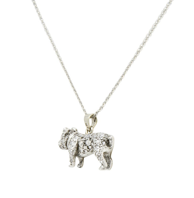 Victorian 2.10 Carat Pave Diamond Silver-Topped Gold Bulldog Pendant Necklace In Excellent Condition For Sale In Philadelphia, PA