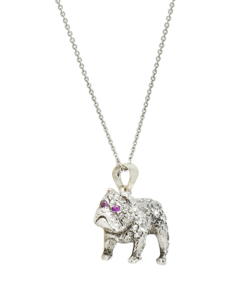 Women's or Men's Victorian 2.10 Carat Pave Diamond Silver-Topped Gold Bulldog Pendant Necklace For Sale