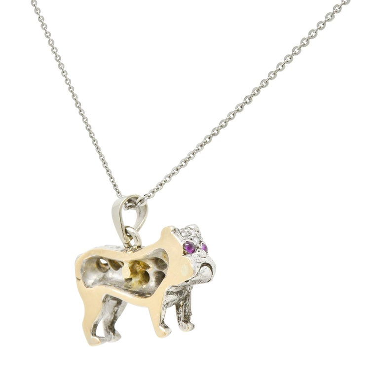 Victorian 2.10 Carat Pave Diamond Silver-Topped Gold Bulldog Pendant Necklace For Sale 4