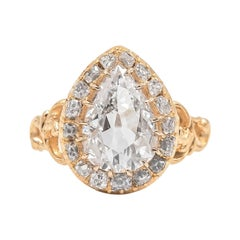 Victorian 2.15 Carat Antique Pear Shaped Diamond Engagement Ring