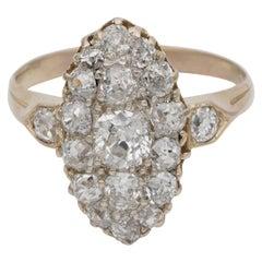 Victorian 2.15 Carat Old Mine Diamond Rare Navette Ring, circa 1870