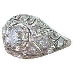 Victorian 2.17 Carat Old Cut Diamond Bombé Ring