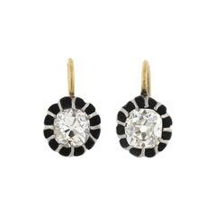 Victorian 2.17 Total Carat Old Mine Cut Diamond Earrings
