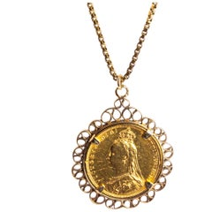 Victorian 22 Carat Gold Sovereign and Box Link Chain Necklace