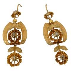 Victorian 22 Karat Yellow Gold and Rose Cut Diamond Drop Earrings