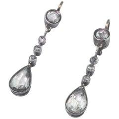 Victorian 2.20 Carat Rose Cut Diamond Pear Drop Earrings