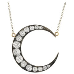 Victorian 2.25 Total Carat Diamond Crescent Pendant Necklace