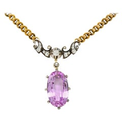 Victorian 22.76 Carat Pink Topaz Diamond Silver 14 Karat Gold Drop Necklace GIA