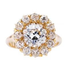 Victorian 2.31 Carat Diamond Center Halo Cluster Engagement Ring