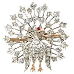 Victorian 2.35 Carat Diamond and Ruby Yellow Gold Peacock Brooch