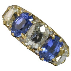 Victorian 2.3 Carat Old Cut Diamond Cert No Heat Ceylon Sapphire 18ct Gold Ring