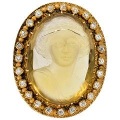 Victorian 2.40 Carat Diamond Citrine 14 Karat Gold Cameo Brooch