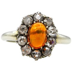 Victorian 2.45 Carat Fire Opal Old European Diamond Cluster Engagement Ring