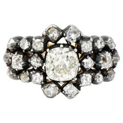Victorian 2.45 Carats Old Mine Diamond Silver-Topped 18 Karat Gold Cluster Ring