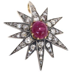 Victorian 2.5 Carat Cabochon Ruby Diamonds Medal Pendant Brooch, 1900