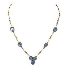 Victorian 25 Carat Sapphire Necklace 14 Karat Gold Fetter Link Chain