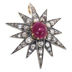 Victorian 2.5 Ct Cabochon Ruby Diamonds Medal Transformer Pendant Brooch, 1900