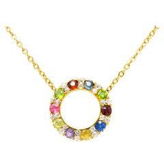 Victorian 2.50 Carat Diamond Amethyst Ruby Sapphire 14 Karat Gold Necklace