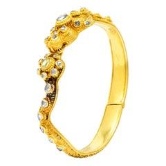 Victorian 2.50 Carat Rose Cut Diamond 18 Karat Gold Dragon Bangle Bracelet