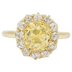 Victorian 2.59 Carat Fancy Yellow Diamond 14 Karat Gold Cluster Ring GIA