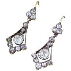 Victorian 2.64 Carat Old Cut Diamond Drop Earrings