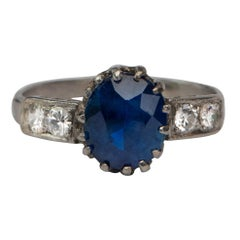 Victorian 2.66 Carat GIA No Heat Blue Sapphire Platinum Ring w Diamond Accents