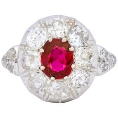 Victorian 2.69 Carat No Heat Ruby Diamond Platinum 14 Karat Gold Cluster Ring