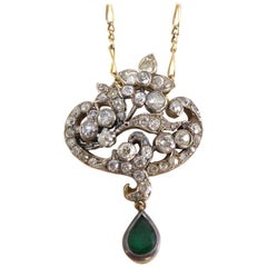 Victorian 2.70 Carat Diamond and Emerald Pendant on Figaro Link Chain